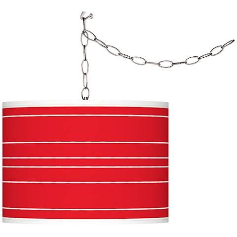 Bright Red Bold Stripe Giclee Glow Plug-In Swag Pendant