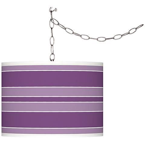 Passionate Purple Bold Stripe Giclee Glow Swag Pendant