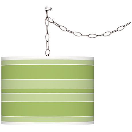 Lime Rickey Bold Stripe Giclee Glow Plug-In Swag Pendant