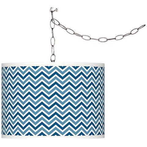 Mykonos Blue Narrow Zig Zag Giclee Glow Swag Pendant