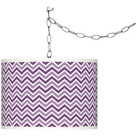 Passionate Purple Narrow Zig Zag Giclee Glow Swag Pendant