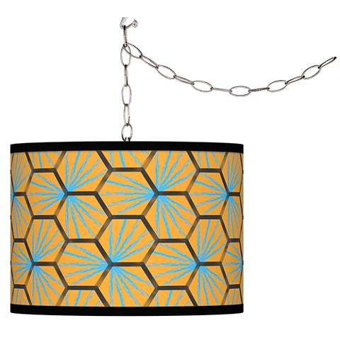 Hexagon Starburst Giclee Glow Plug-In Swag Pendant