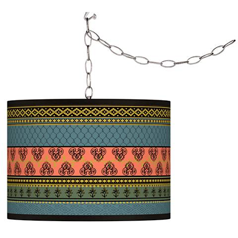 Royal Tapestry Giclee Glow Plug-In Swag Pendant