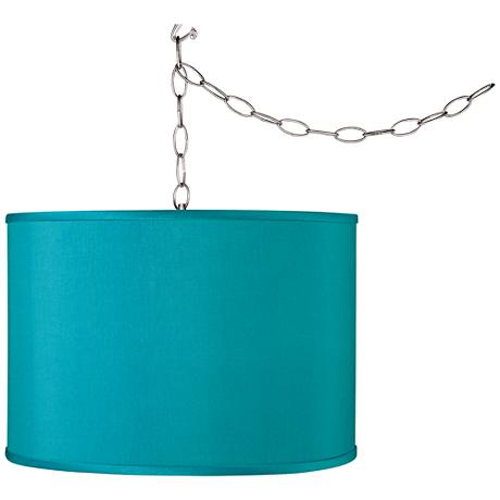 Swag Style Teal Blue Faux Silk Shade Plug-In Chandelier