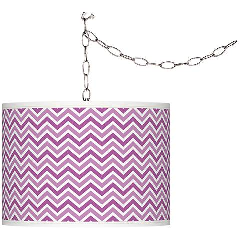 Pink Orchid Narrow Zig Zag Plug-In Swag Pendant