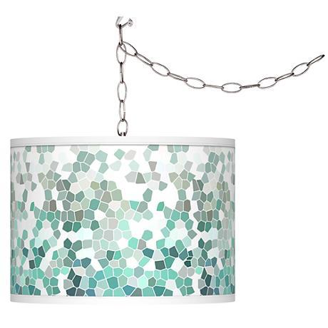 Aqua Mosaic Giclee Glow Plug-In Swag Pendant