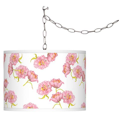 Pretty Peonies Giclee Glow Plug-In Swag Pendant