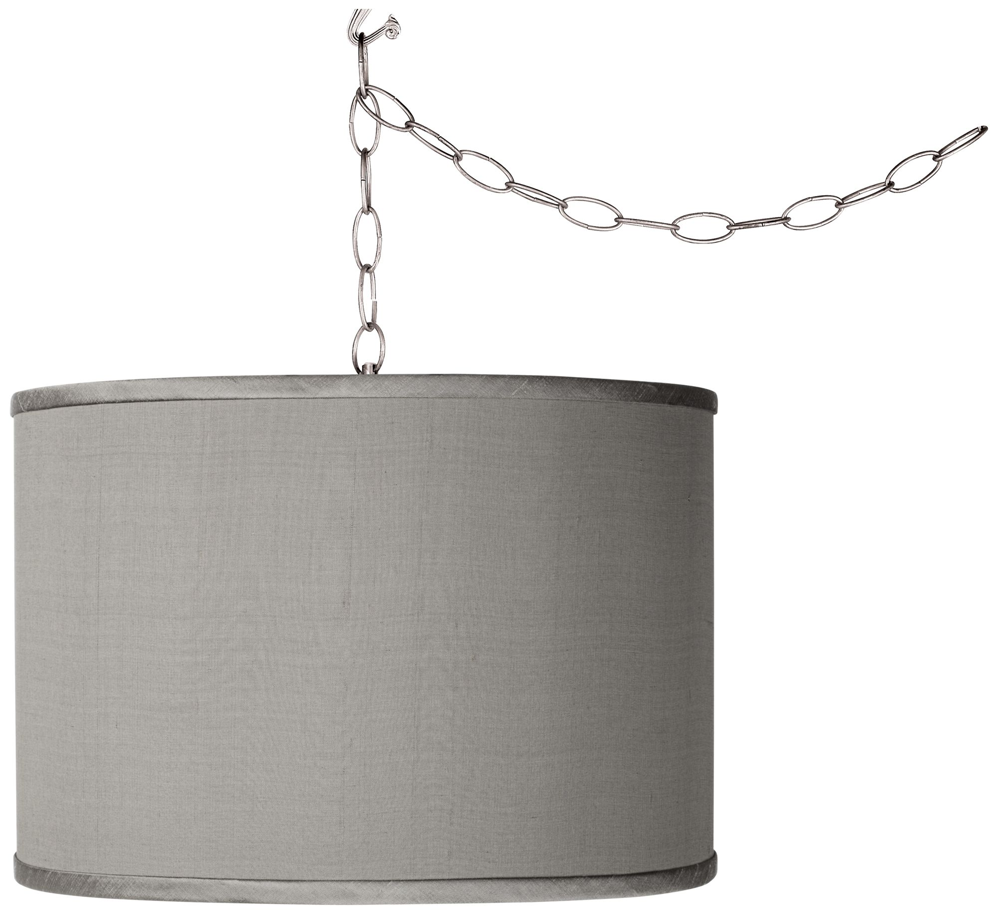 Swag Style Gray Faux Silk Shade Plug In Chandelier