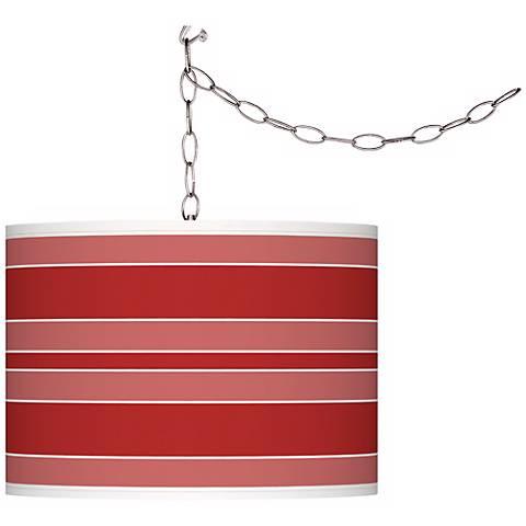 Cherry Tomato Bold Stripe Giclee Glow Plug-In Swag Pendant