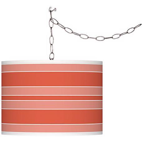 Modern Orange Bold Stripe Giclee Glow Plug-In Swag Pendant