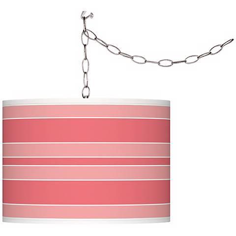 Rose Bold Stripe Giclee Glow Plug-In Swag Pendant