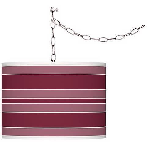 Dark Plum Bold Stripe Giclee Glow Plug-In Swag Pendant
