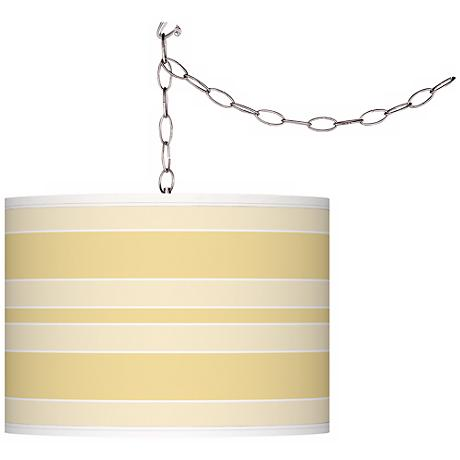 Butter Up Bold Stripe Giclee Glow Plug-In Swag Pendant