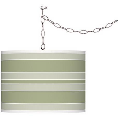 Majolica Green Bold Stripe Giclee Glow Plug-In Swag Pendant