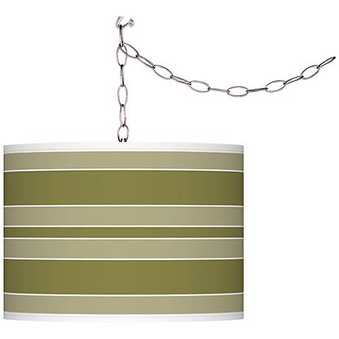 Rural Green Bold Stripe Giclee Glow Plug-In Swag Pendant
