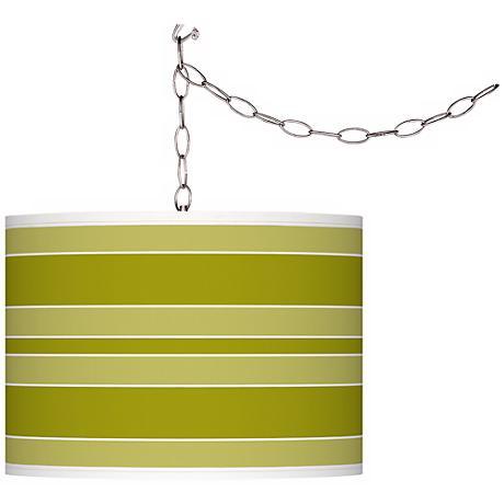 Olive Green Bold Stripe Giclee Glow Plug-In Swag Pendant
