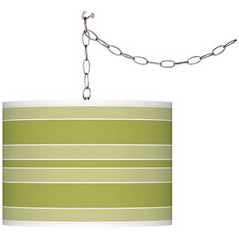 Parakeet Bold Stripe Giclee Glow Plug-In Swag Pendant