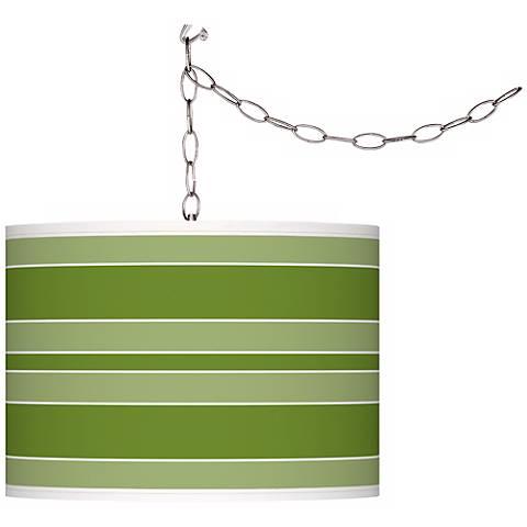 Gecko Bold Stripe Giclee Glow Plug-In Swag Pendant
