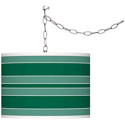 Greens Bold Stripe Giclee Glow Plug-In Swag Pendant