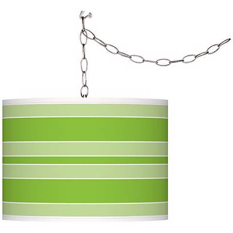 Neon Green Bold Stripe Giclee Glow Plug-In Swag Pendant
