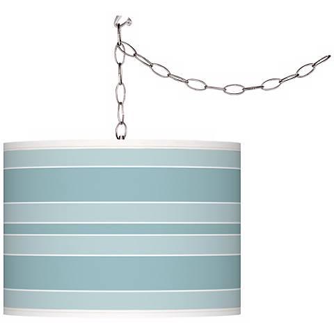 Raindrop Bold Stripe Giclee Glow Plug-In Swag Pendant