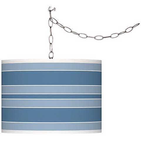 Secure Blue Bold Stripe Giclee Glow Plug-In Swag Pendant