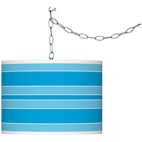 Sky Blue Bold Stripe Giclee Glow Plug-In Swag Pendant