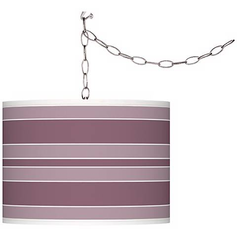 Plum Dandy Bold Stripe Giclee Glow Plug-In Swag Pendant