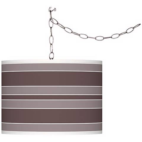 Deepest Mauve Bold Stripe Giclee Glow Plug-In Swag Pendant