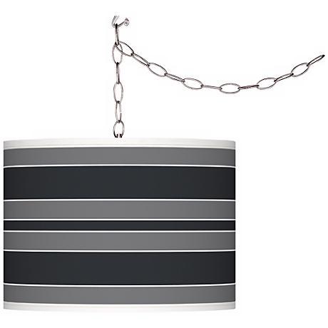 Black of Night Bold Stripe Giclee Glow Plug-In Swag Pendant