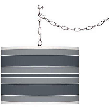 Granite Peak Bold Stripe Giclee Glow Plug-In Swag Pendant