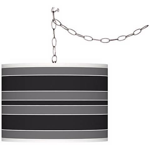 Tricorn Black Bold Stripe Giclee Glow Plug-In Swag Pendant