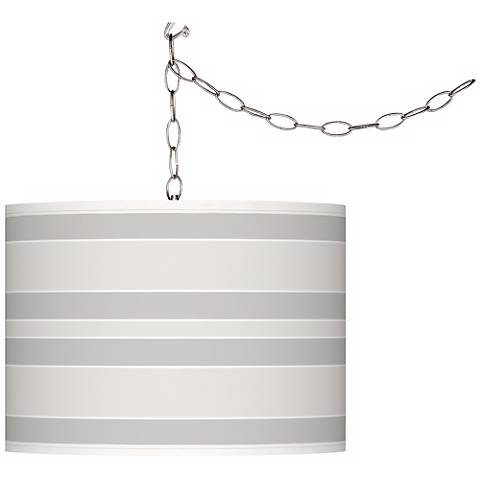 Winter White Bold Stripe Giclee Glow Plug-In Swag Pendant