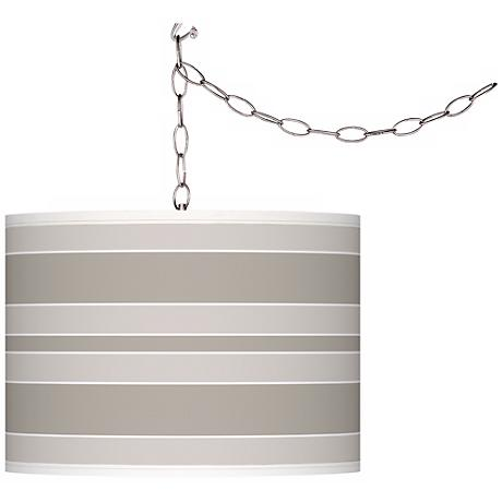 Requisite Gray Bold Stripe Giclee Glow Plug-In Swag Pendant