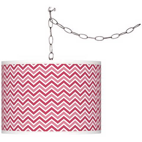 Eros Pink Narrow Zig Zag Giclee Glow Plug-In Swag Pendant