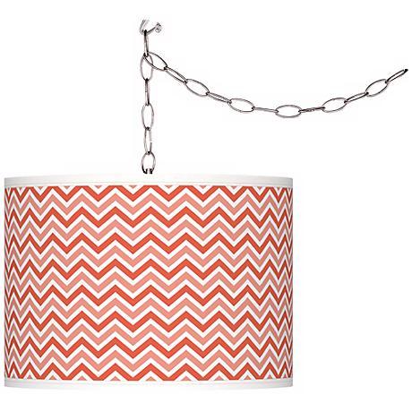Modern Orange Narrow Zig Zag Giclee Glow Plug-In Swag