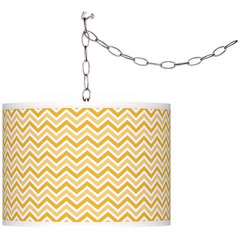 Goldenrod Narrow Zig Zag Giclee Glow Plug-In Swag Pendant