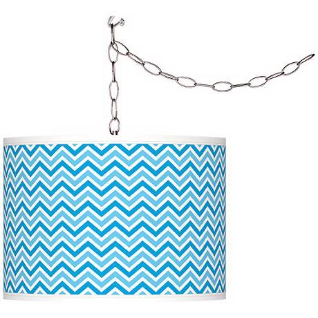 Sky Blue Narrow Zig Zag Giclee Glow Plug-In Swag Pendant