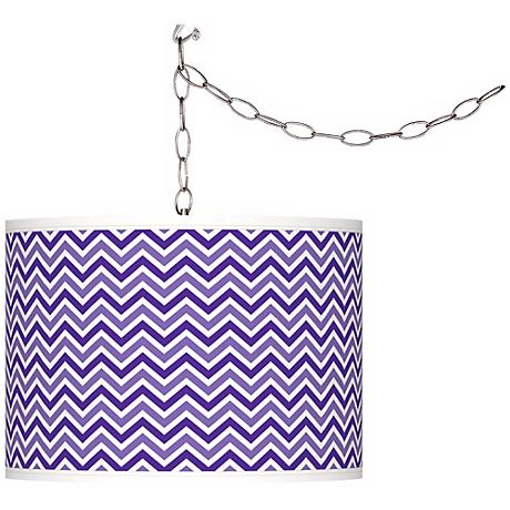 Violet Narrow Zig Zag Giclee Glow Plug-In Swag Pendant