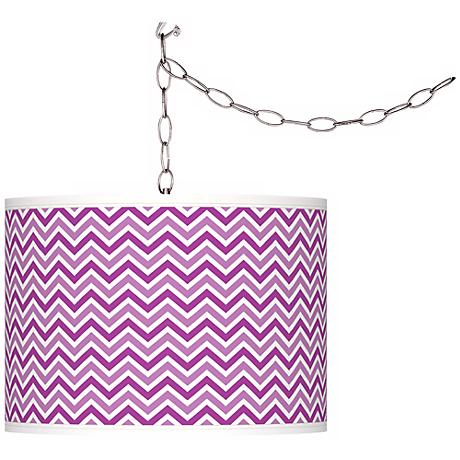 Peony Purple Narrow Zig Zag Giclee Glow Plug-In Swag