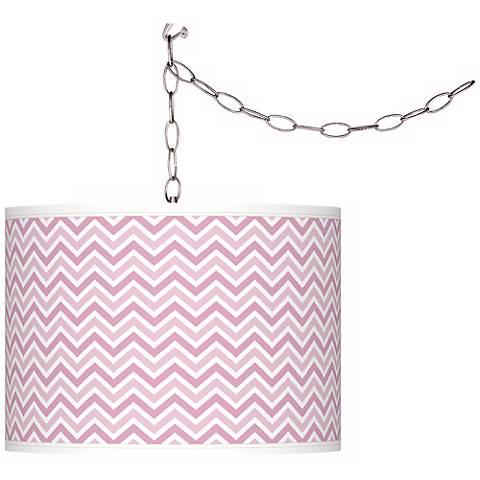 Pink Pansy Narrow Zig Zag Giclee Glow Plug-In Swag