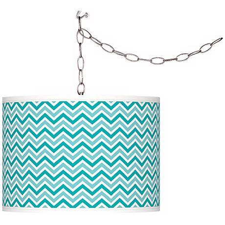 Turquoise Narrow Zig Zag Giclee Glow Plug-In Swag Pendant