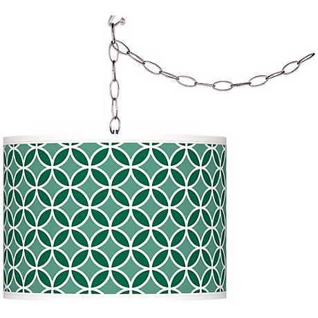 Greens Circle Rings Giclee Glow Plug-In Swag Pendant