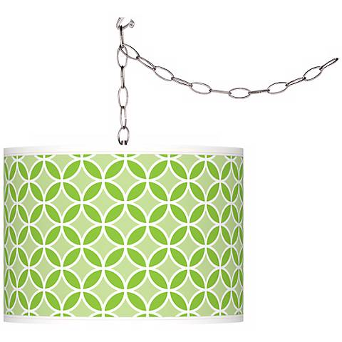 Neon Green Circle Rings Giclee Glow Plug-In Swag Pendant