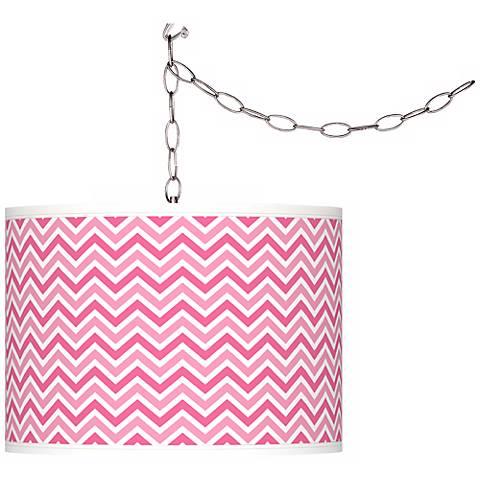 "Blossom Pink Narrow Zig Zag 13 1/2"" W Plug-In Swag Pendant"