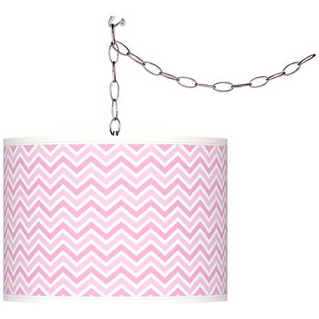 """Pale Pink Narrow Zig Zag 13 1/2"""" Wide Plug-In Swag Pendant"""
