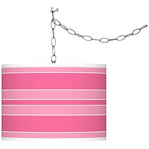 "Blossom Pink Bold Stripe 13 1/2"" Wide Plug-In Swag Pendant"