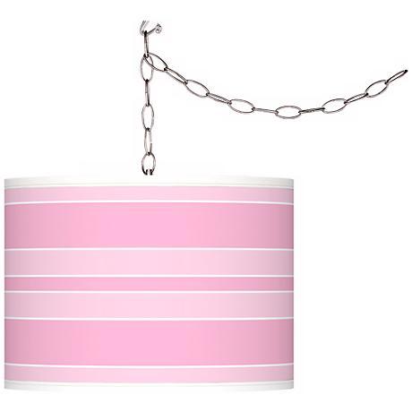 "Pale Pink Bold Stripe 13 1/2"" Wide Plug-In Swag Pendant"