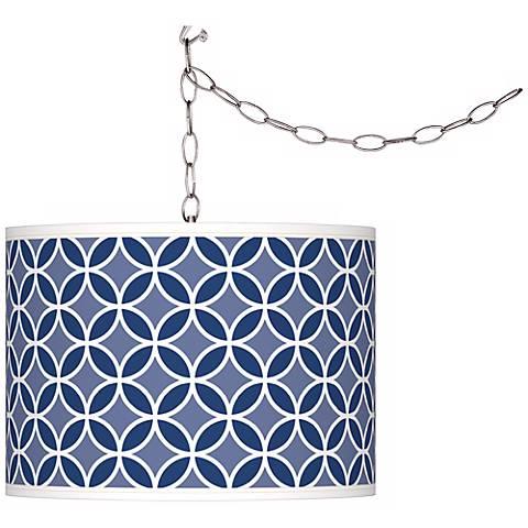 Monaco Blue Circle Rings Giclee Glow Plug-In Swag Pendant