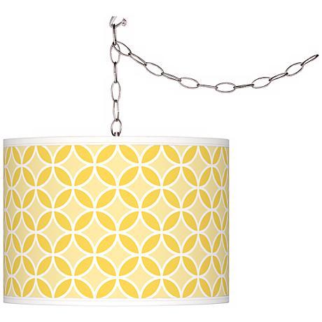 Lemon Zest Circle Rings Giclee Glow Plug-In Swag Pendant